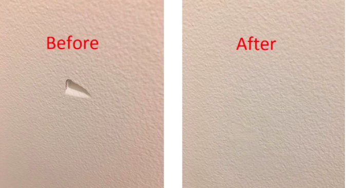 "On the left, a wall with a triangular dent in it and the text ""Before."" On the right, the same wall with the dent filled in and barely visible and the text ""After"""