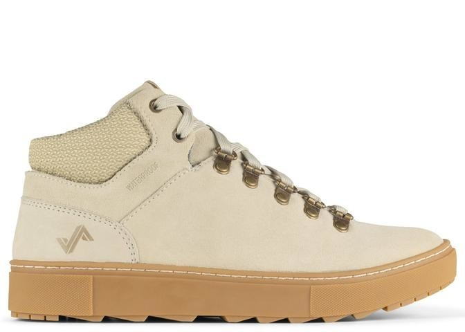 oatmeal-colored lace-up boots