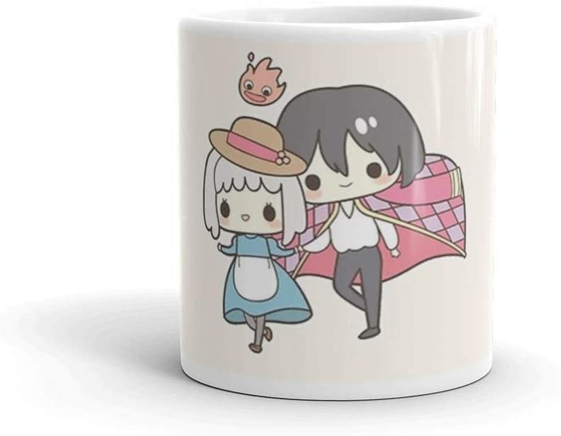A mug with Sophie Hatter and Wizard Howl on it