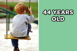 On the left, a kid sits on a swing on the playground, and on the right,