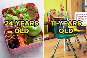 On the left, an open lunch box filled with salad, a sandwich, pretzels, an apple, and carrots and celery and 24 years old is typed on top, and on the right, a kindergarten classroom with bright chairs and an alphabet board and 11 years old typed on top