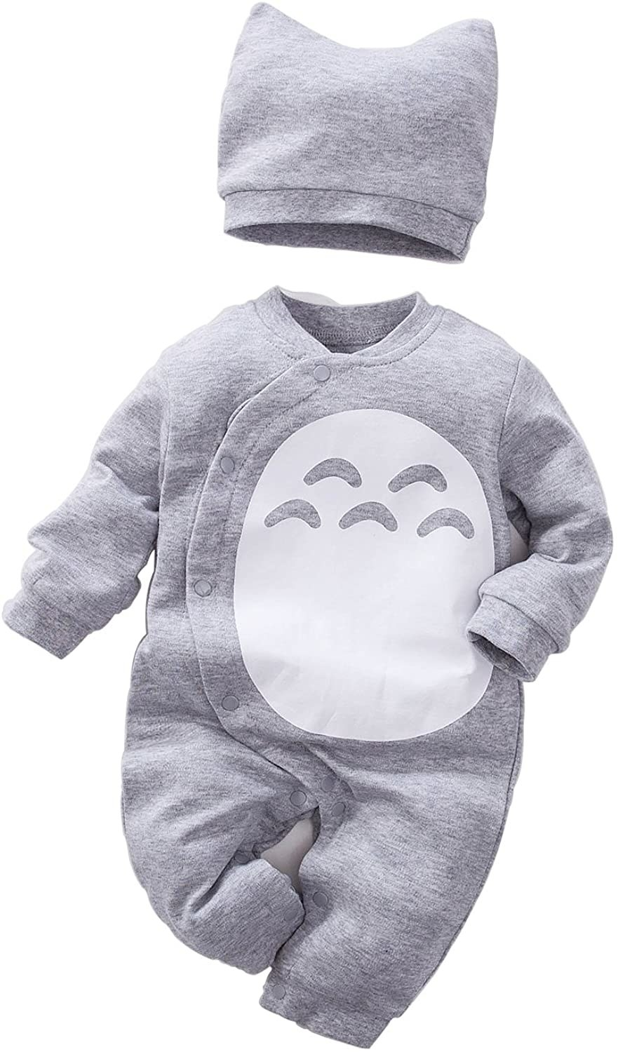 A hat and baby romper with a button closure