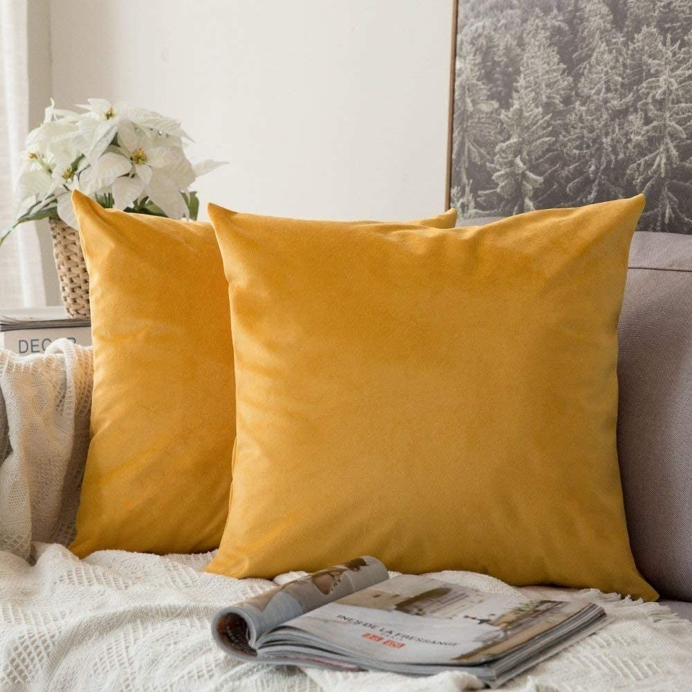 Two velvet square pillows in orange sitting on a couch
