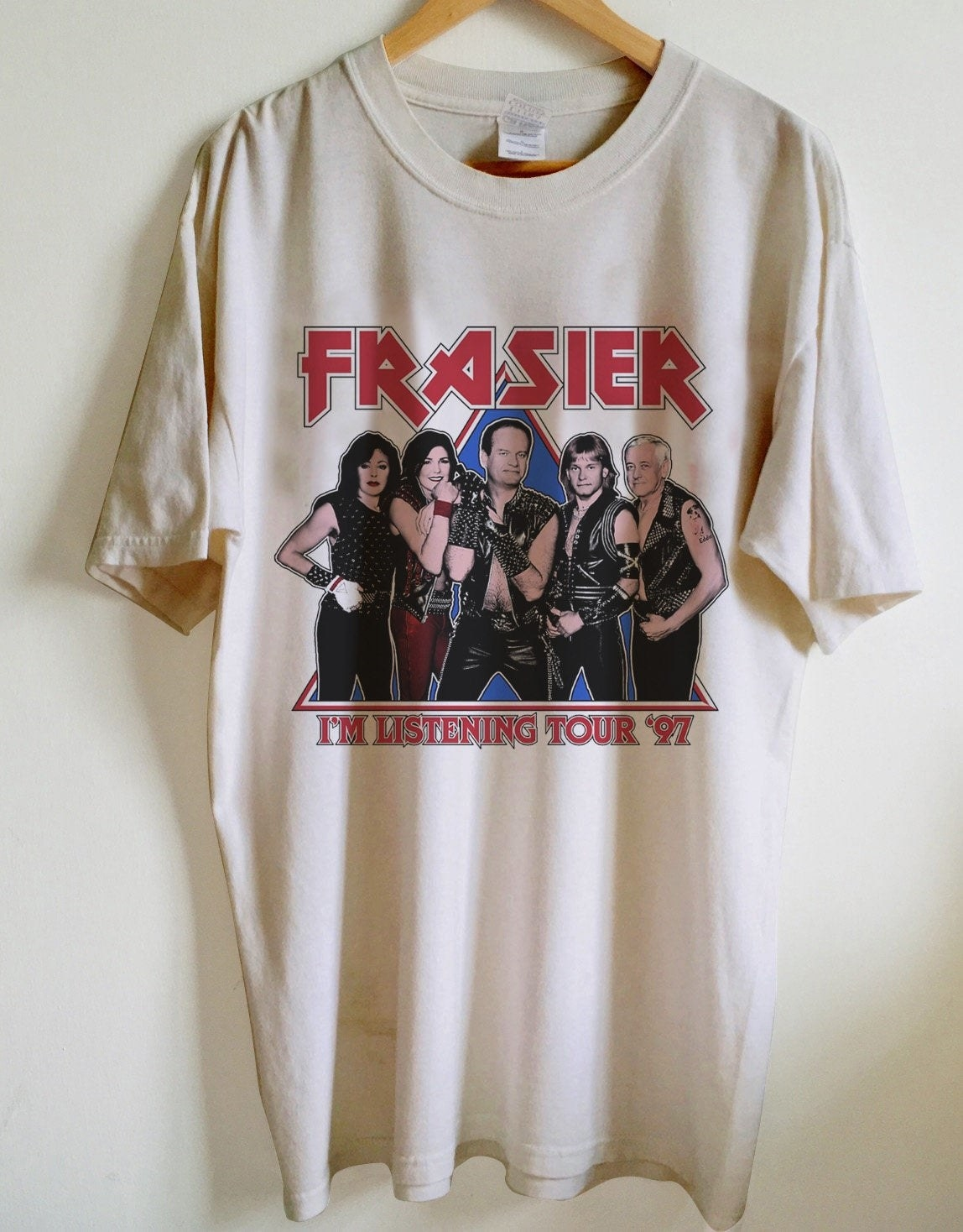an oversized white tee with the cat of fraiser on it in rocker apparel