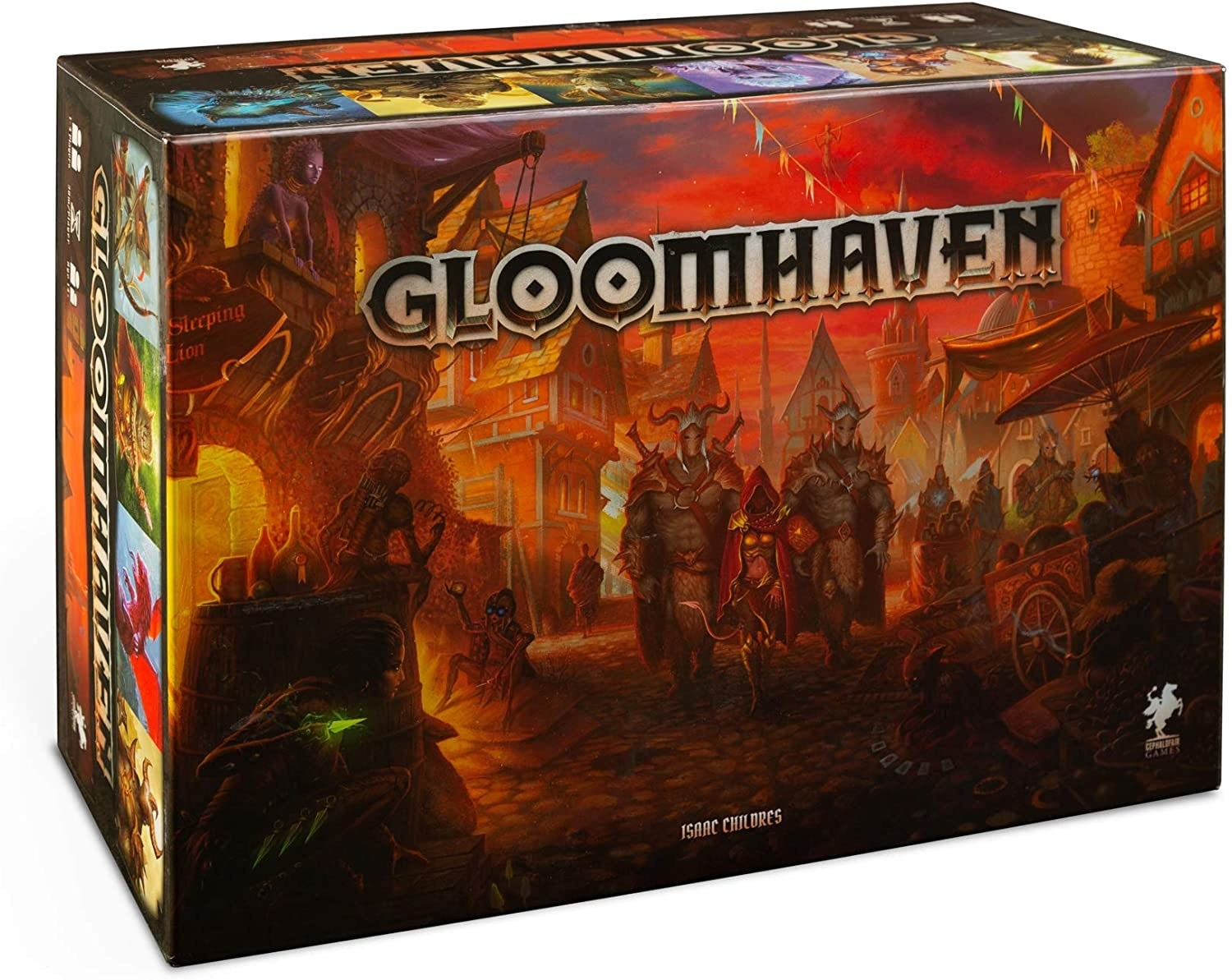 Gloomhaven board game box with dark, red and black medieval imagery