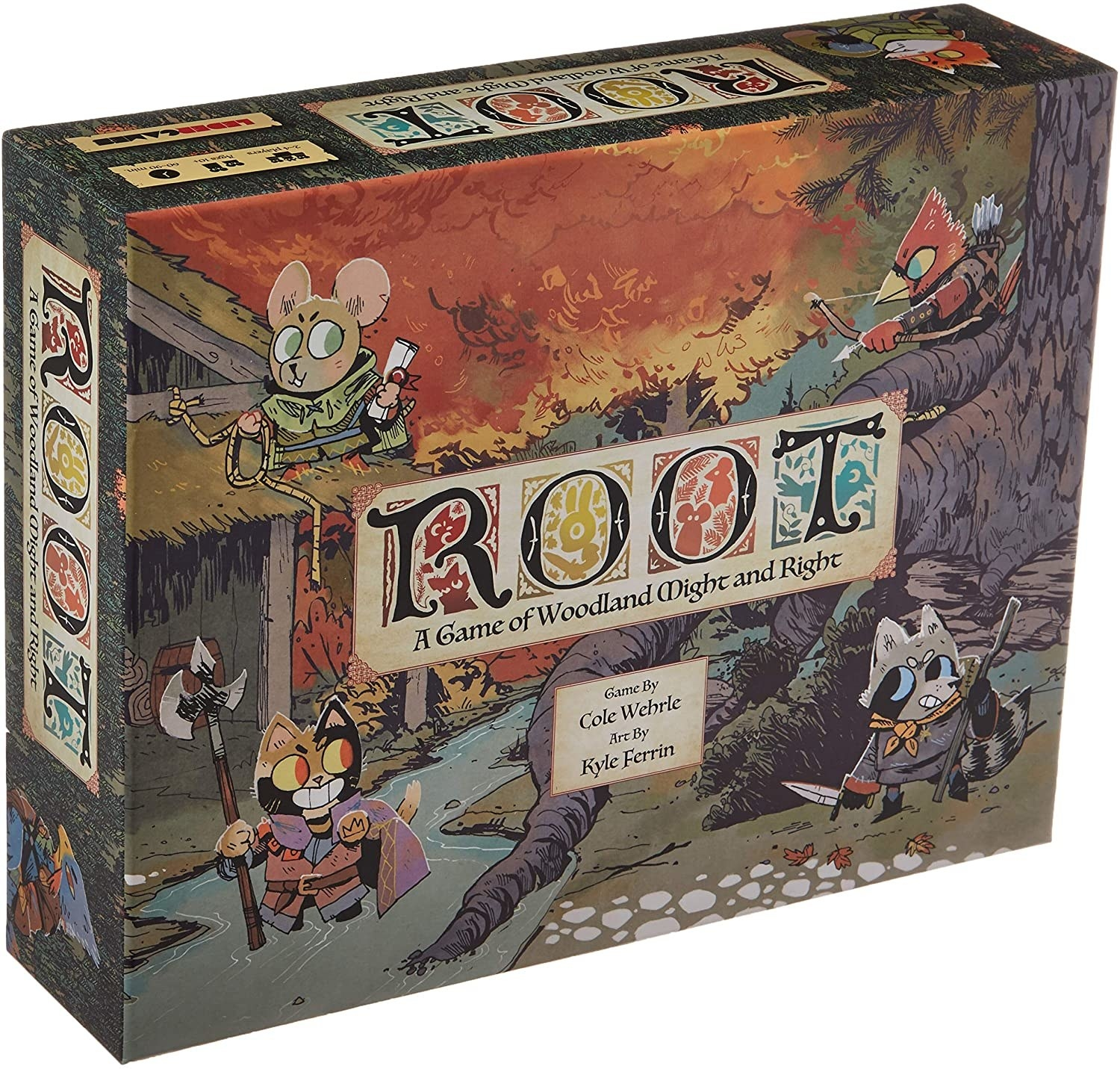 Root board game box with woodland creatures illustrated on front