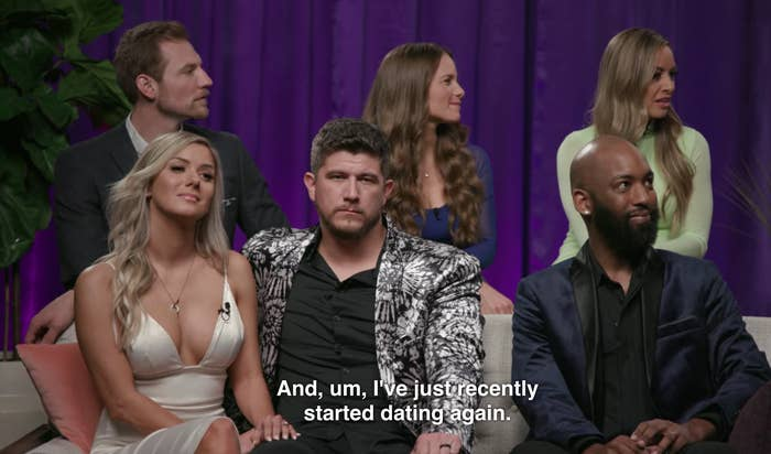 Jessica from Love is Blind at the reunion, saying she recently started dating again.