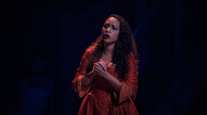 "A close up of Jasmine Cephas Jones as Maria Reynolds singing ""Say No To This"""