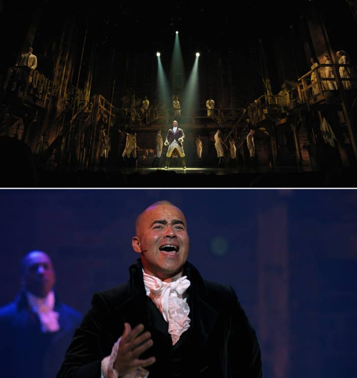 "A wide shot of Leslie Odom Jr. as Burr and then a close-up of Chris Jackson singing ""One Last Time"" as Washington"