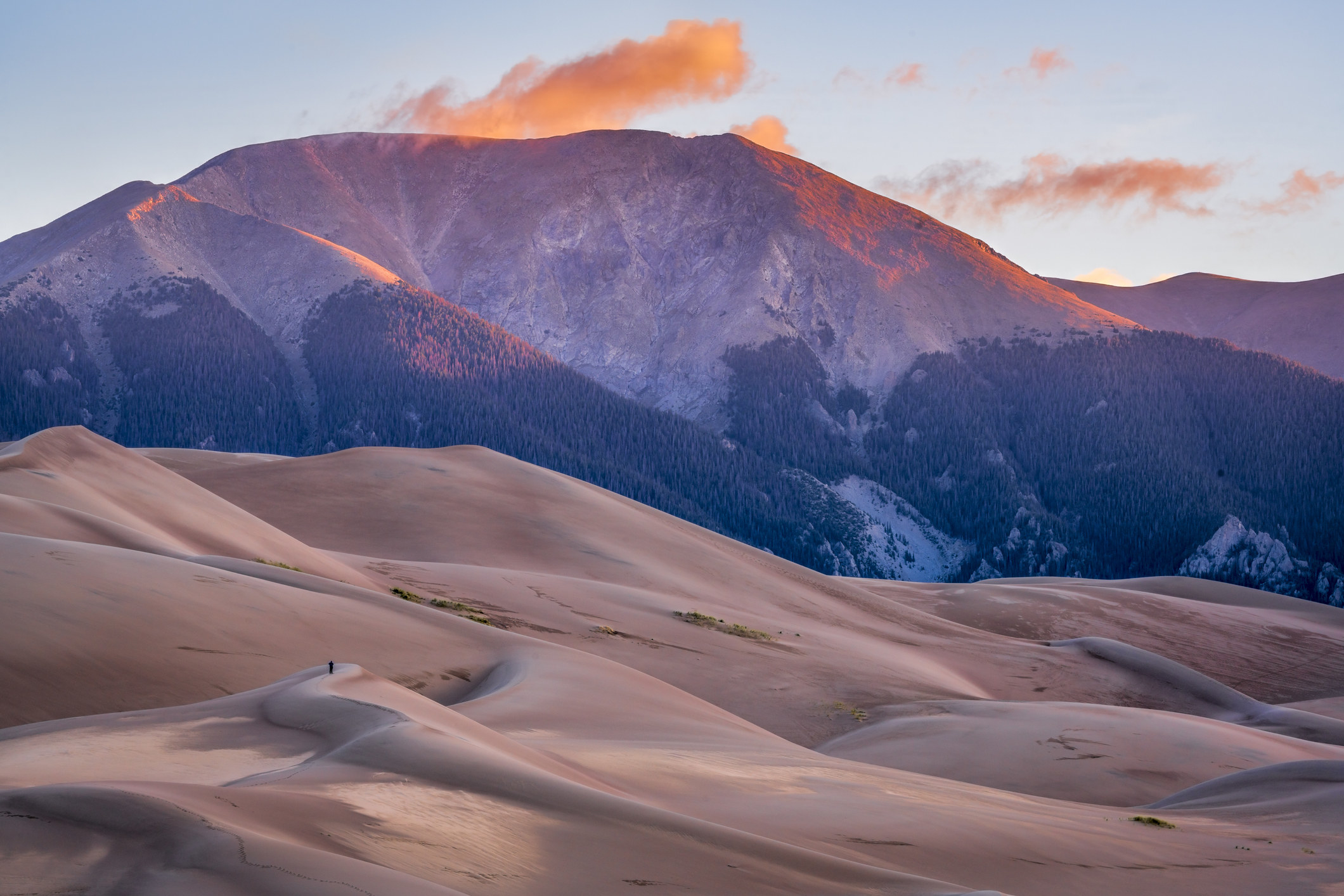 A landscape shot of Great Sand Dunes National Park at sunrise, showing pink-colored dunes against a mountain.