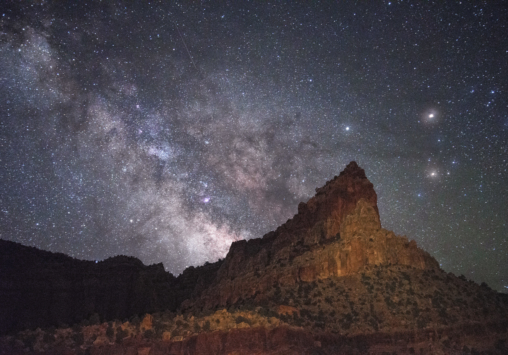 A starry night at Capitol Reef National Park where the Milky Way is visible to the naked eye.