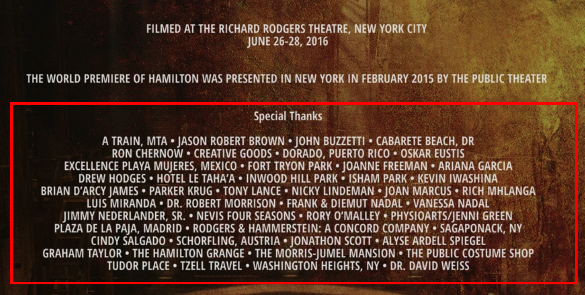 The Special Thanks section at the end of the credits that lists various places
