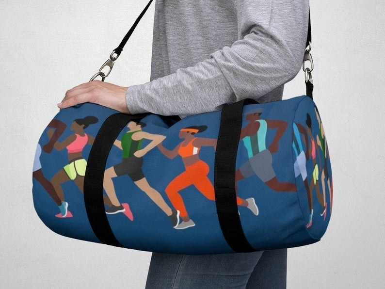 A blue duffel with cartoon runners on it