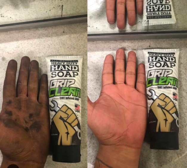 On the left, a reviewer's hand covered in grease. On the right, the same hand with 90% of the grease washed off