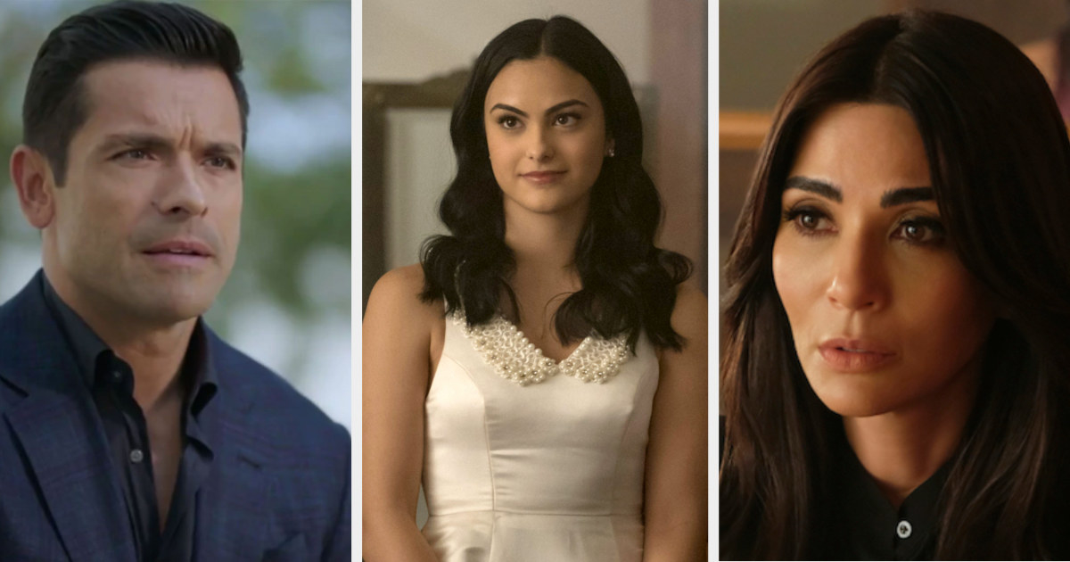 Mark Consuelos as Hiram, Camila Mendes as Veronica, and Marisol Nichols as Hermione