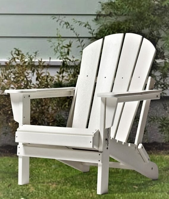 white Adirondack chair with movable joints to fold