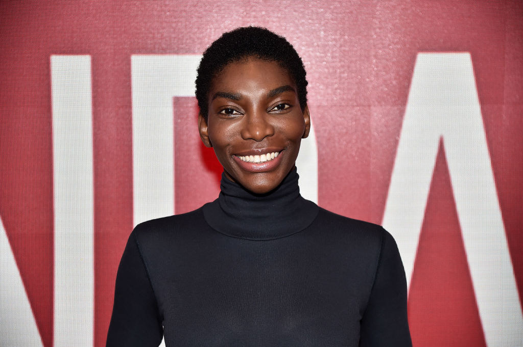 A profile photo of Michaela Coel on the red carpet.