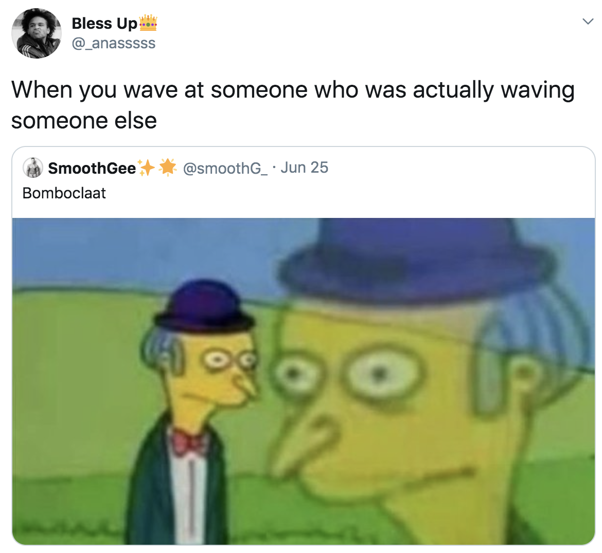 """Cartoon character looking flustered with the caption """"When you wave at someone who was actually waving at someone else"""""""
