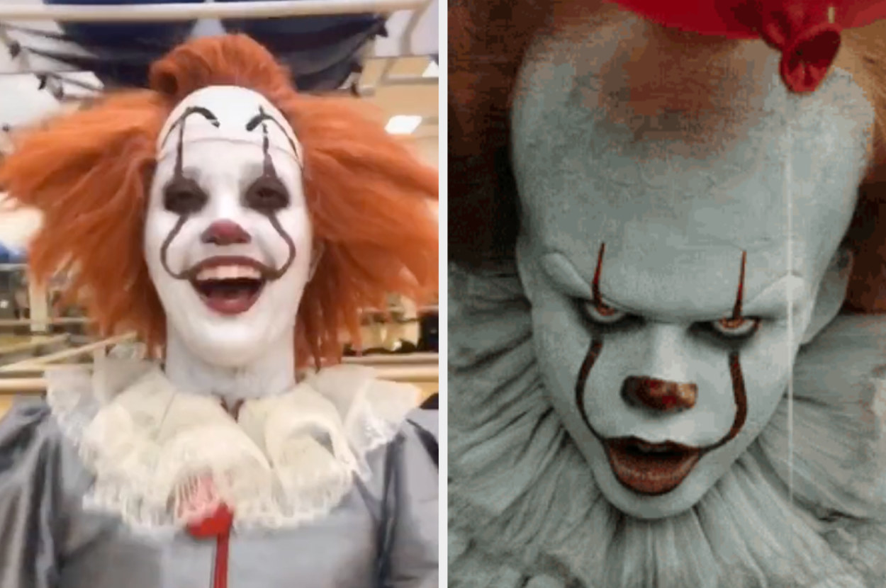 Girl in a Pennywise costume on the left, and actual Pennywise on the right.