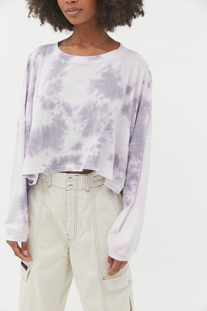 Model in lavender tie-dye, long-sleeve tee