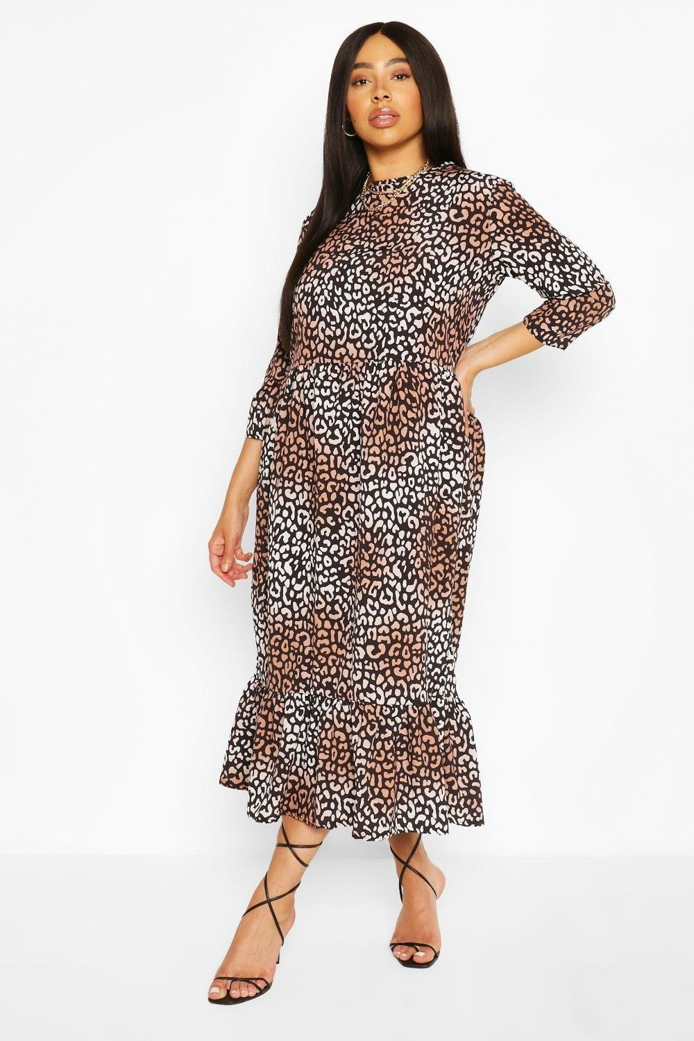 Model in the leopard-print dress with ruffle hem