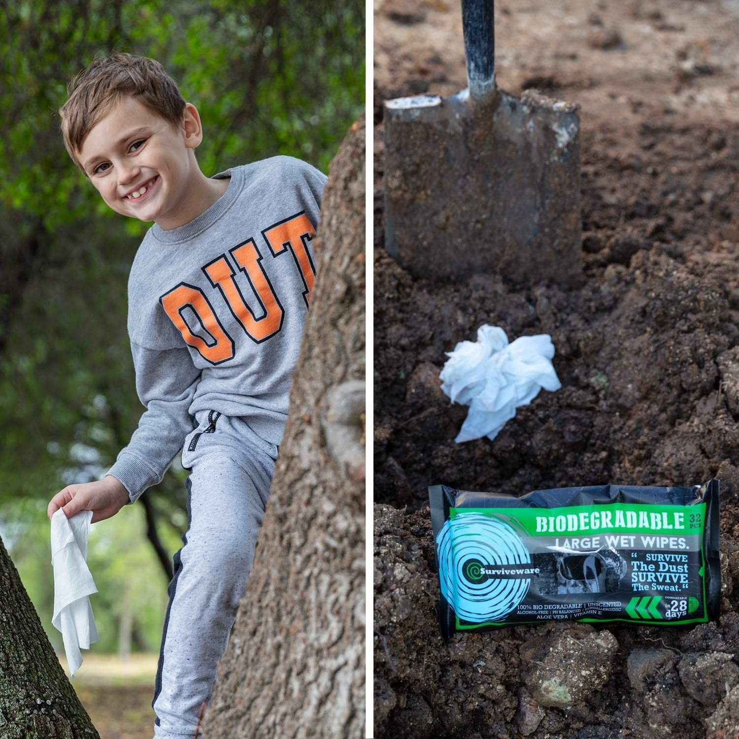 A child holding a wet wipe in a tree and a package of wet wipes on the ground