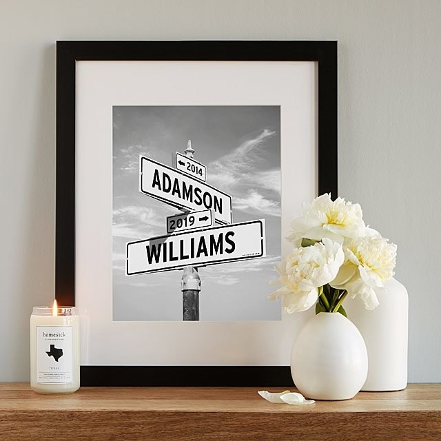 """The Intersection of Love print depicting """"Adamson"""" and Williams"""" on intersecting street signs"""