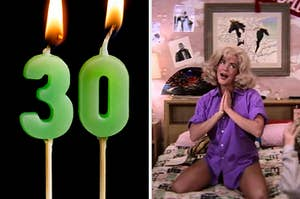 """On the left, birthday candles make the number 30, and on the right, Stockard Channing sings """"Look at Me, I'm Sandra Dee"""" as Rizzo in """"Grease"""""""