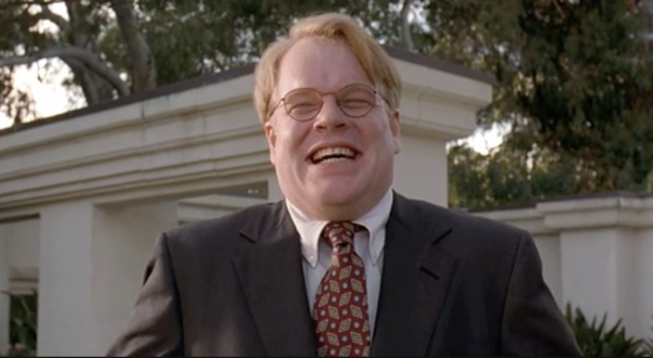 Phillip Seymour Hoffman laughs awkwardly