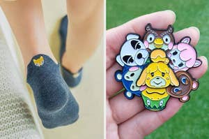 to the left: a blue ankle sock with a fox embroidered on the back, to the right: a spinning animal crossing pin