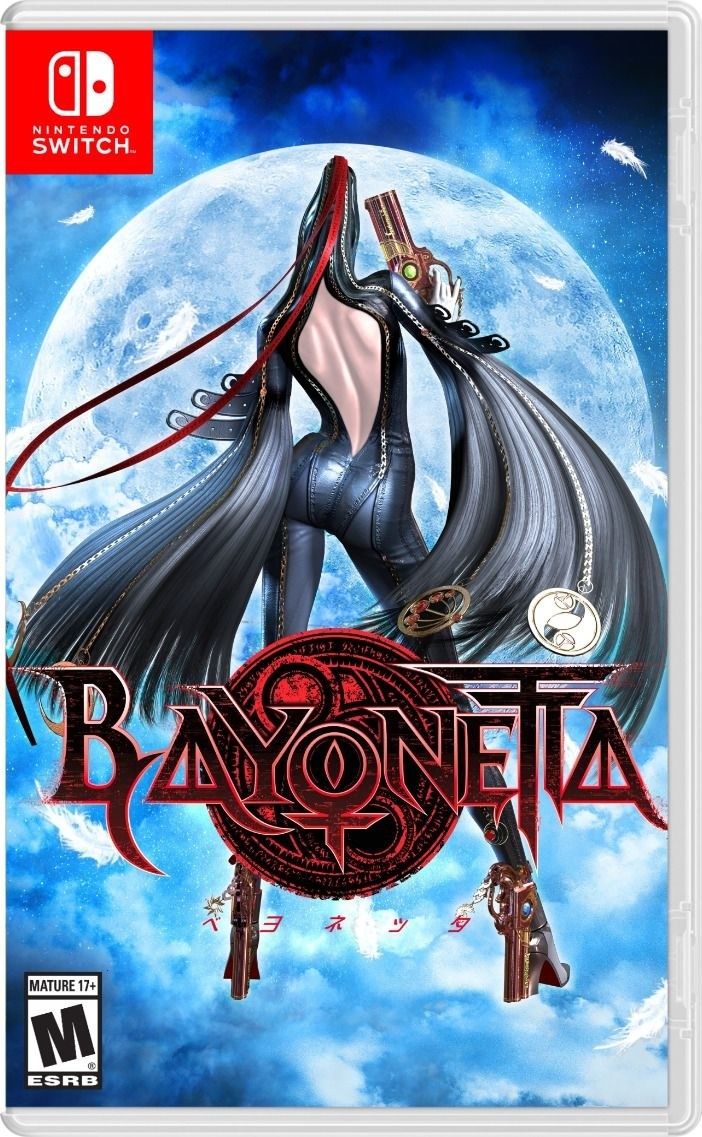 The cover of Baynonetta, on which she is seen standing with her back to us and with extremely long hair