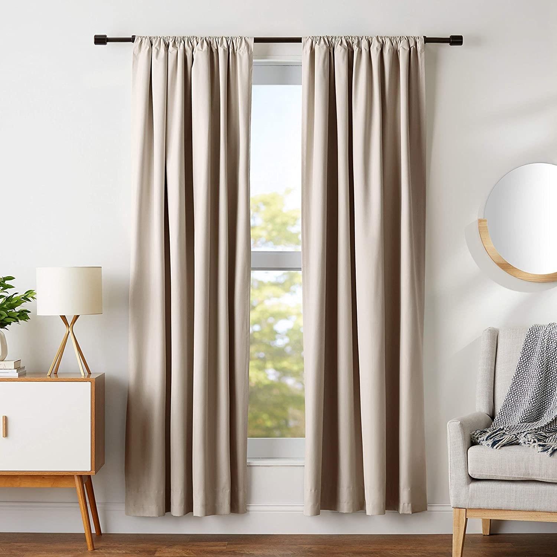 beige curtains against window