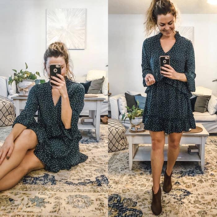 reviewer wearing blue ruffled mini dress