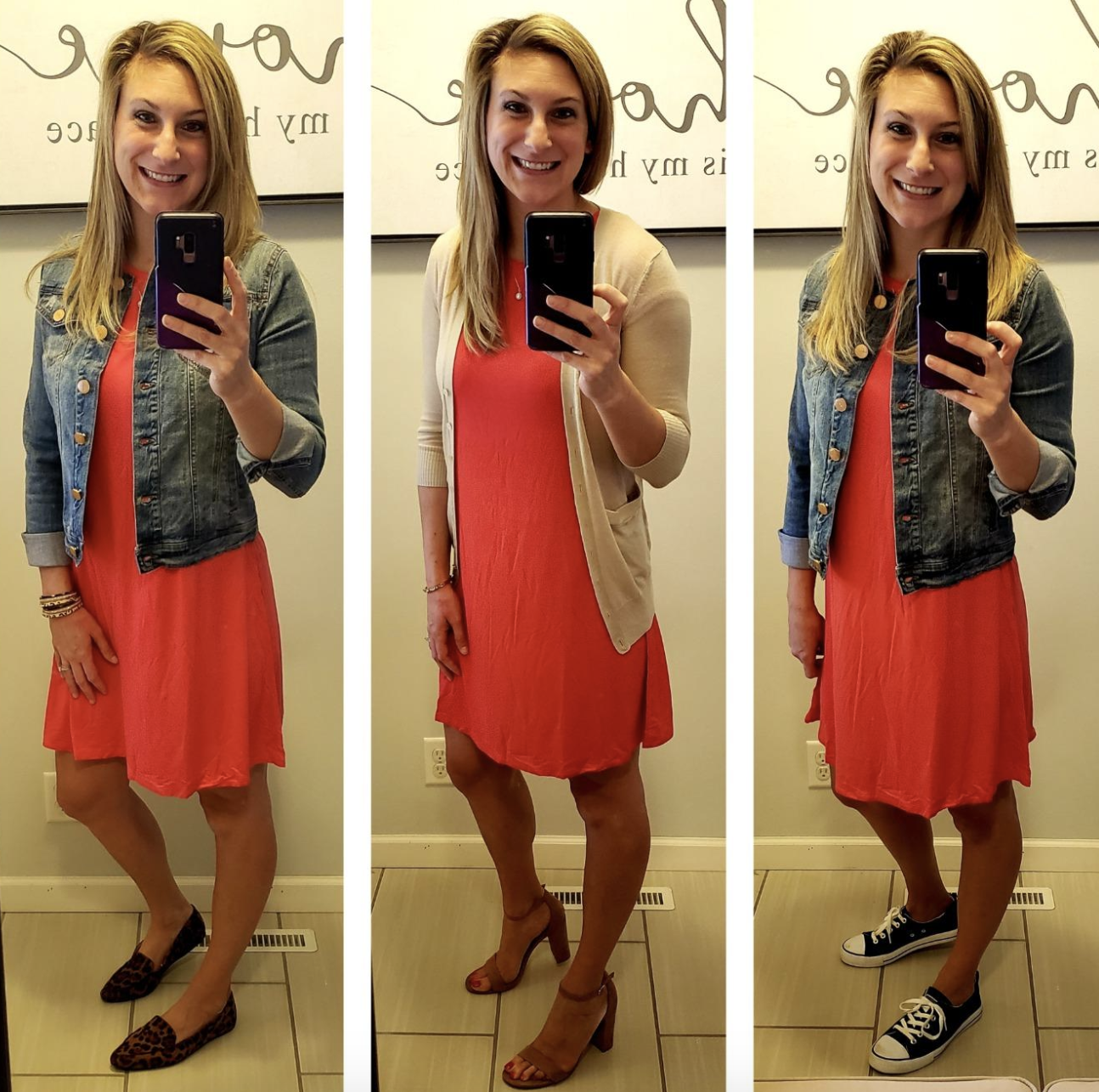 reviewer wearing red T-shirt dress three different ways with a denim jacket, cardigan and heels, and denim jacket and sneakers