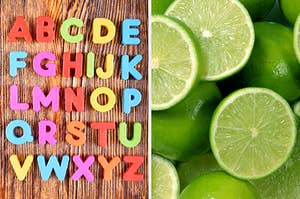 On the left, alphabet magnets A-Z places on a wooden table, and on the right, a pile of limes, some sliced in half and others whole