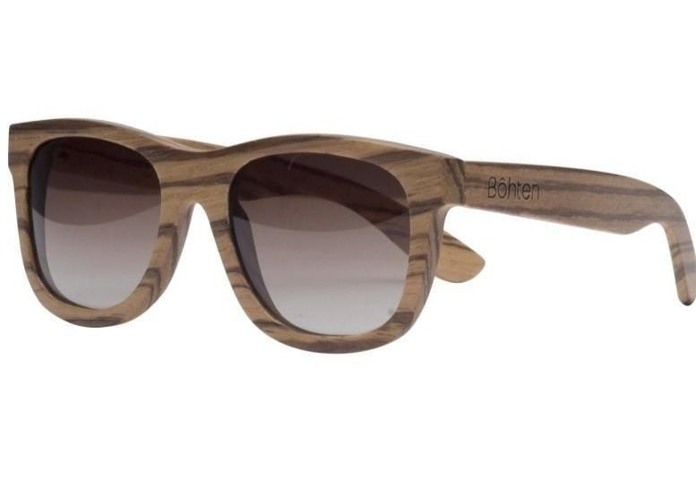 The sunglasses with wood frames and brown lenses