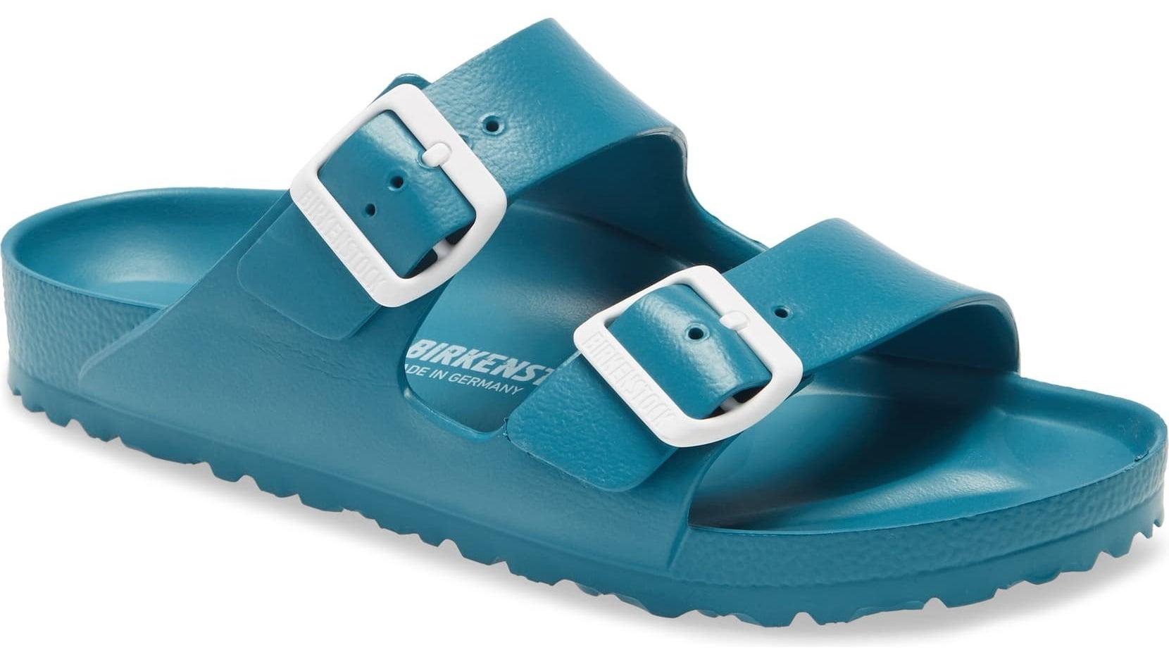 Waterproof Birkenstock strap sandals in turquoise