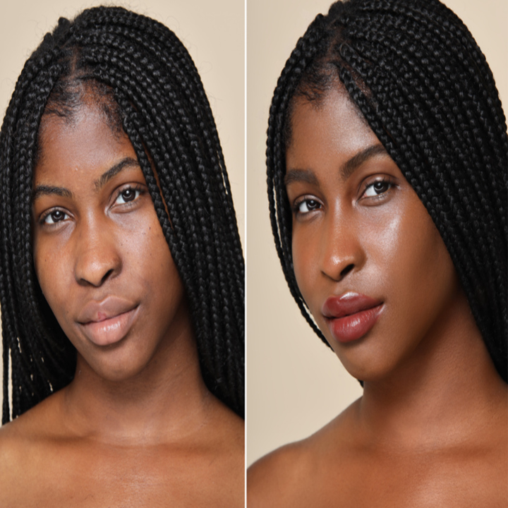 On the left, a model's bare face. On the right, the same model wearing the foundation, with their skin looking even and glowy