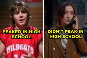 On the left, Zac Efron sings Get'cha Head in the Game as Troy in High School Musical and
