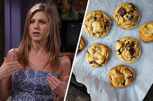 """On the left, Rachel from """"Friends"""" wears a patterned-dress and an annoyed expression on her face, and on the right, a tray of freshly baked chocolate chip cookies"""