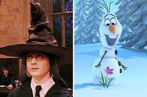 """On the left, Harry Potter wears the sorting hat in """"Harry Potter and the Sorcerer's Stone"""" and on the right, Olaf gasps as he looks at a flower sprouting through the snow in """"Frozen"""""""
