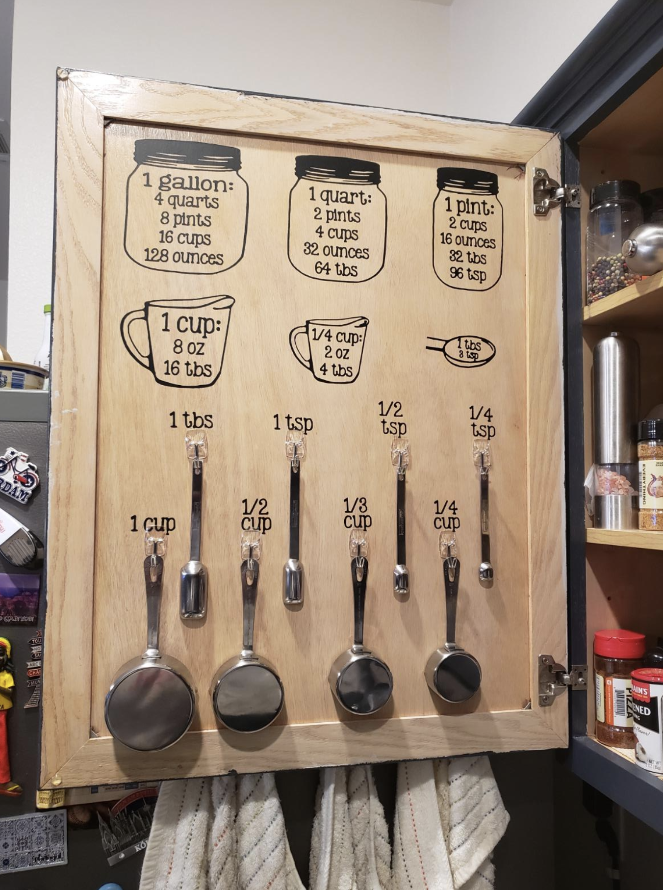 Reviewer image of measurement decals pasted inside a cabinet with measuring cups underneath, and six measurement conversions (gallon, quart, pint, cup, 1/4 cup, and one tablesoon)