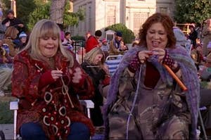 Babette and Miss Patty knitting