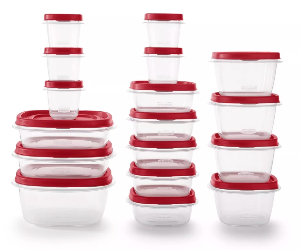Three stacks of clear plastic food storage containers with red lids