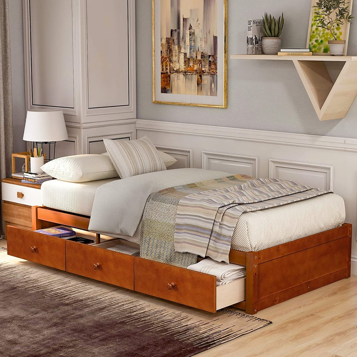 a platform bed made of wood, with round handles in the center of each shelf. The shelves are on the right side of the bed