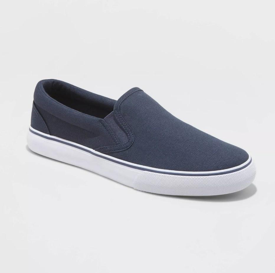 slip-on navy sneakers