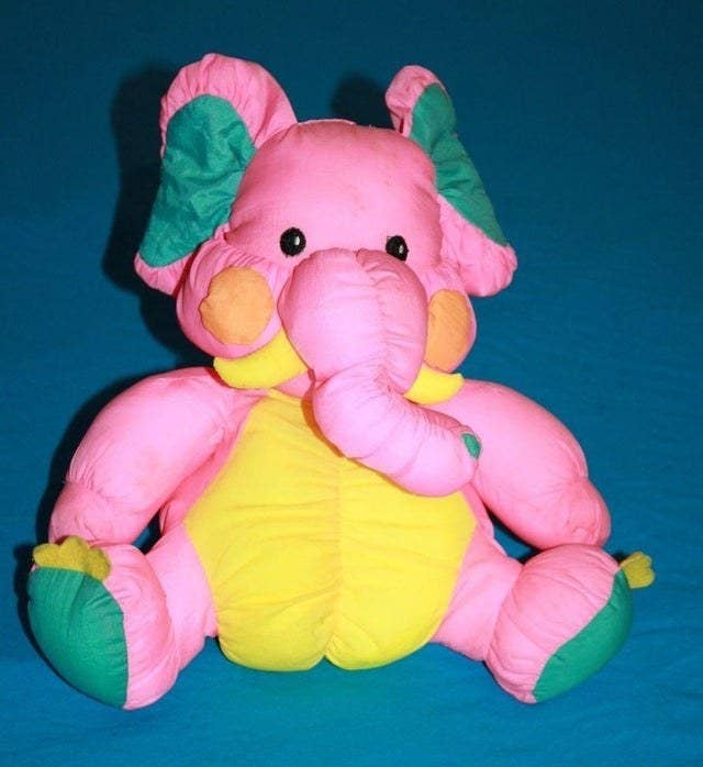 Nylon pink elephant plushie from the '90s