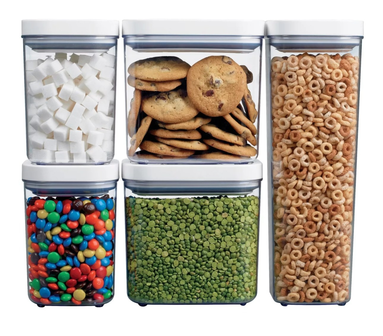 Five clear storage containers with white pop-tops filled with foodstuffs
