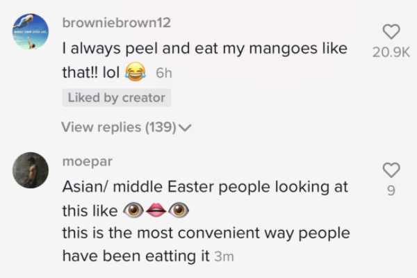 """Text from video saying, """"I always peel my mangos like that!"""""""