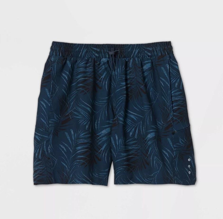 blue leaf print board shorts